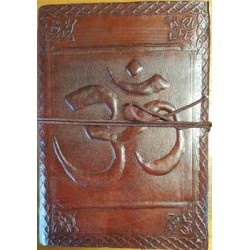 Om Embossed Leather 7 Inch Journal Tree of Life Journeys Reconnect with Yourself - Meditation, Law of Attraction, Spiritual Products