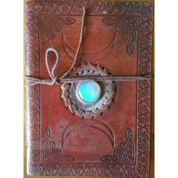 Triple Moon Gemstone Leather 7 Inch Journal
