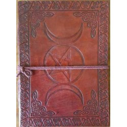 Triple Moon Pentacle Leather 7 Inch Journal Tree of Life Journeys Reconnect with Yourself - Meditation, Law of Attraction, Spiritual Products