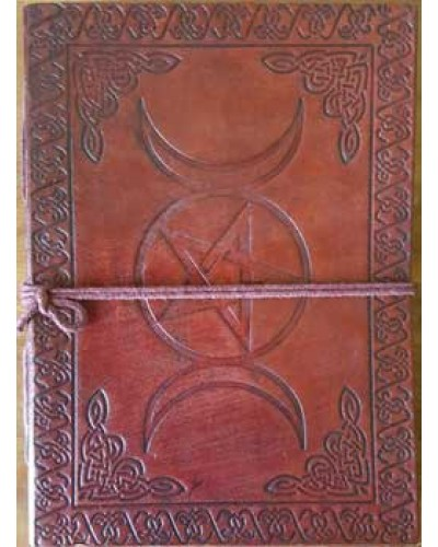 Triple Moon Pentacle Leather 7 Inch Journal at Tree of Life Journeys, Reconnect with Yourself - Meditation, Law of Attraction, Spiritual Products