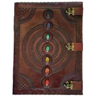 7 Chakra Stones Large Leather Blank Journal - 18 Inches