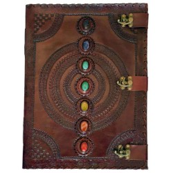 7 Chakra Stones Large Leather Blank Journal - 18 Inches Tree of Life Journeys Reconnect with Yourself - Meditation, Law of Attraction, Spiritual Products
