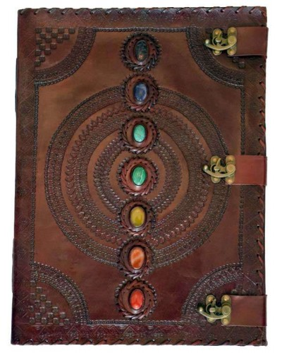 7 Chakra Stones Large Leather Blank Journal - 18 Inches at Tree of Life Journeys, Reconnect with Yourself - Meditation, Law of Attraction, Spiritual Products