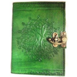 Tree of Life Green Leather Journal with Latch Tree of Life Journeys Reconnect with Yourself - Meditation, Law of Attraction, Spiritual Products