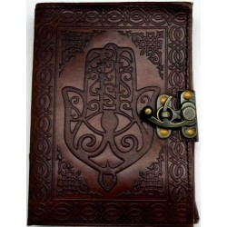 Hamsa Embossed Leather Journal with Latch Tree of Life Journeys Reconnect with Yourself - Meditation, Law of Attraction, Spiritual Products