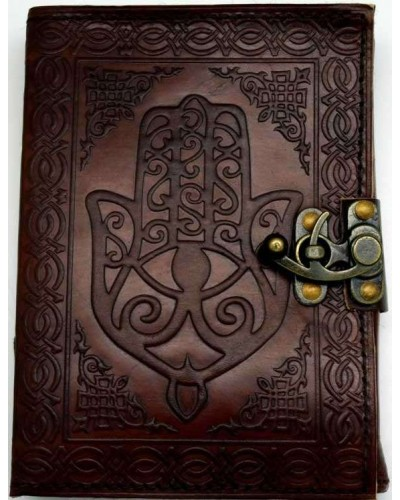 Hamsa Embossed Leather Journal with Latch at Tree of Life Journeys, Reconnect with Yourself - Meditation, Law of Attraction, Spiritual Products