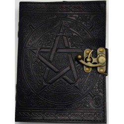 Pentacle Black Leather Book of Shadows 7 Inch Journal with Latch Tree of Life Journeys Reconnect with Yourself - Meditation, Law of Attraction, Spiritual Products