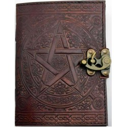 Pentacle Brown Leather Book of Shadows 7 Inch Journal with Latch Tree of Life Journeys Reconnect with Yourself - Meditation, Law of Attraction, Spiritual Products