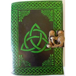 Triquetra Green Leather 7 Inch Journal with Latch Tree of Life Journeys Reconnect with Yourself - Meditation, Law of Attraction, Spiritual Products