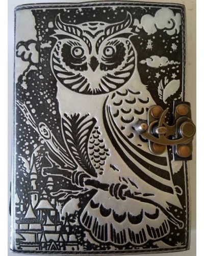 Owl Black and Silver Book of Shadows Journal with Latch at Tree of Life Journeys, Reconnect with Yourself - Meditation, Law of Attraction, Spiritual Products