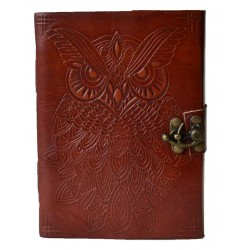 Owl Leather 7 Inch Blank Book with Latch Tree of Life Journeys Reconnect with Yourself - Meditation, Law of Attraction, Spiritual Products
