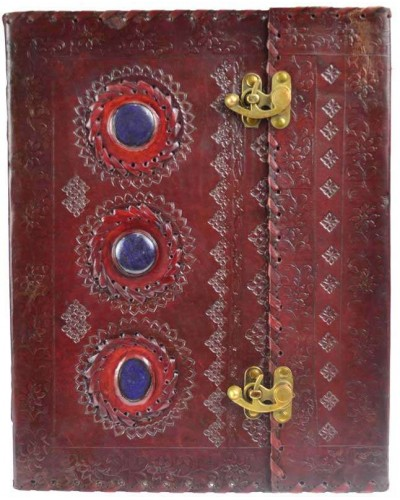 3 Stone Leather Blank Book with Latch - 10 x 13 at Tree of Life Journeys, Reconnect with Yourself - Meditation, Law of Attraction, Spiritual Products