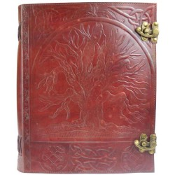 Tree of Life Leather Blank Book with Latch - 10 x 13