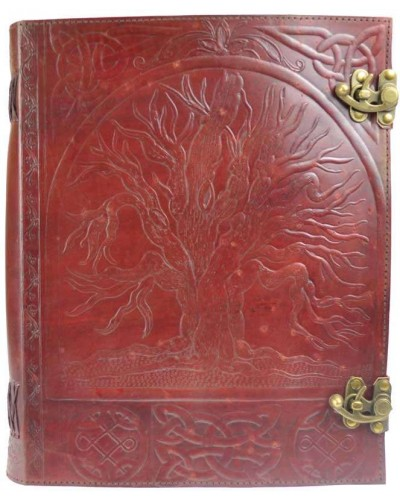 Tree of Life Leather Blank Book with Latch - 10 x 13 at Tree of Life Journeys, Reconnect with Yourself - Meditation, Law of Attraction, Spiritual Products