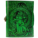 Green Tree of Life River of Knowledge Leather Journal at Tree of Life Journeys, Reconnect with Yourself - Meditation, Law of Attraction, Spiritual Products