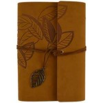 Brown Leaf Leather Ring Binder - 7 1/4 Inches at Tree of Life Journeys, Reconnect with Yourself - Meditation, Law of Attraction, Spiritual Products