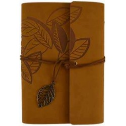 Brown Leaf Leather Ring Binder - 7 1/4 Inches Tree of Life Journeys Reconnect with Yourself - Meditation, Law of Attraction, Spiritual Products