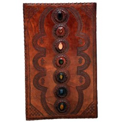 7 Chakra Stones XLarge Leather Blank Journal - 22 Inches