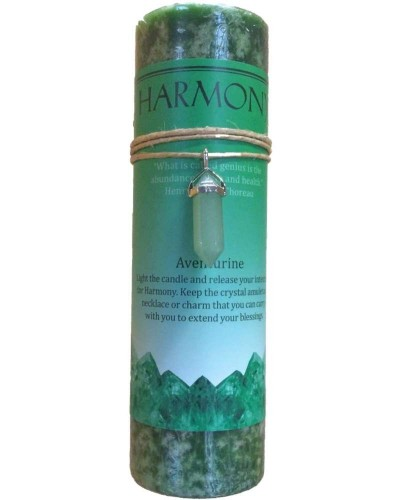 Harmony Crystal Energy Candle with Aventurine Pendant at Tree of Life Journeys, Reconnect with Yourself - Meditation, Law of Attraction, Spiritual Products
