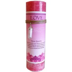 Love Crystal Energy Candle with Rose Quartz Pendant Tree of Life Journeys Reconnect with Yourself - Meditation, Law of Attraction, Spiritual Products