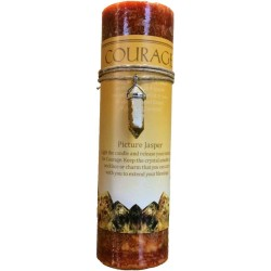 Courage Crystal Energy Candle with Picture Jasper Pendant Tree of Life Journeys Reconnect with Yourself - Meditation, Law of Attraction, Spiritual Products