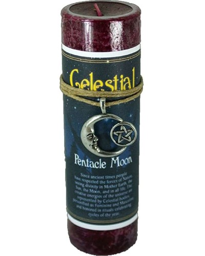 Pentacle Moon Celestial Spell Candle with Amulet Pendant