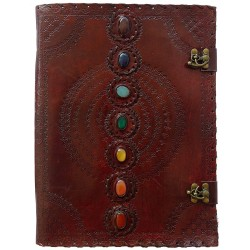 7 Chakra Stones Leather Blank Journal - 13 Inches Tree of Life Journeys Reconnect with Yourself - Meditation, Law of Attraction, Spiritual Products