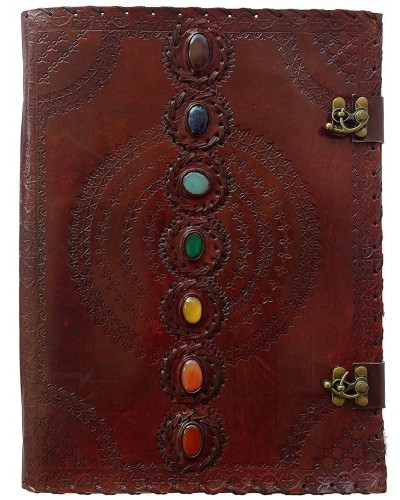 7 Chakra Stones Leather Blank Journal - 13 Inches at Tree of Life Journeys, Reconnect with Yourself - Meditation, Law of Attraction, Spiritual Products