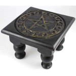 Pentacle Carved Wood Altar Table at Tree of Life Journeys, Reconnect with Yourself - Meditation, Law of Attraction, Spiritual Products