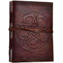 Pentagram Leather Journal with Cord Tree of Life Journeys Reconnect with Yourself - Meditation, Law of Attraction, Spiritual Products