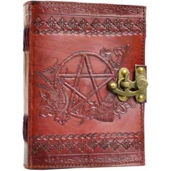 Pentagram Leather Journal with Latch Tree of Life Journeys Reconnect with Yourself - Meditation, Law of Attraction, Spiritual Products