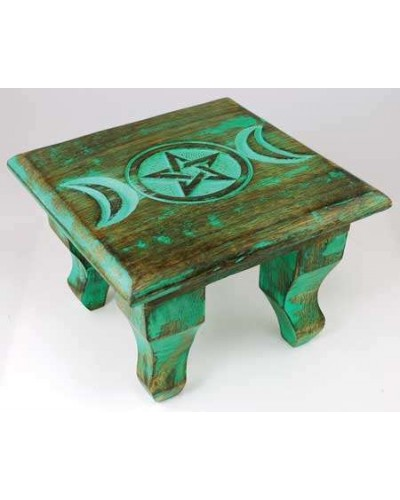 Triple Moon Antiqued Wood Altar Table at Tree of Life Journeys, Reconnect with Yourself - Meditation, Law of Attraction, Spiritual Products